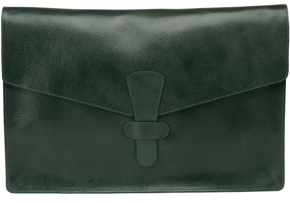 "Back View of 15"" Leather Folder Organizer Green"