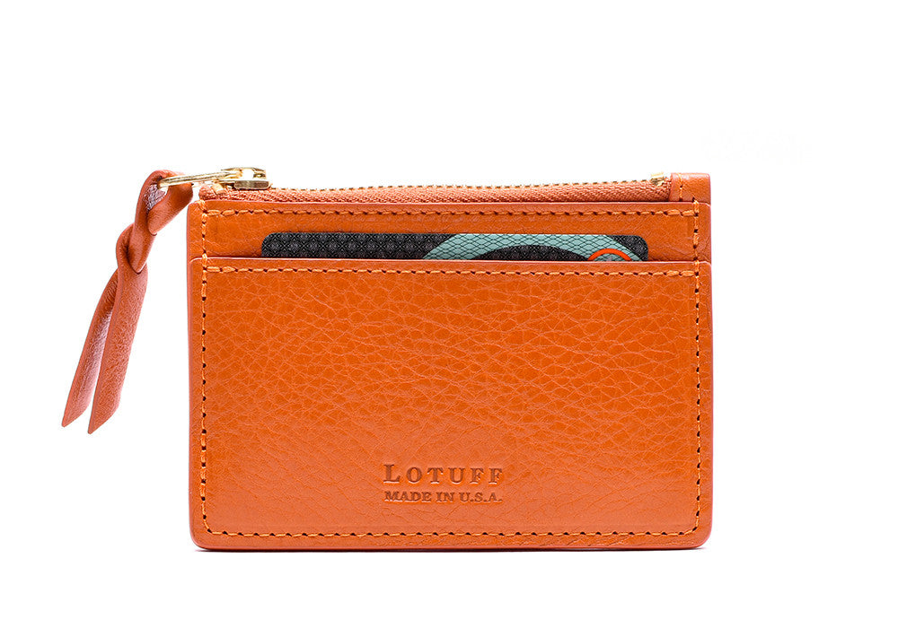 Front View of Zipper Credit Card Wallet Orange