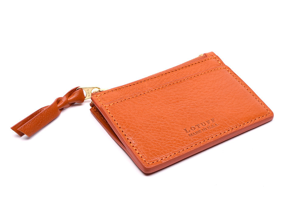 Side View of Zipper Credit Card Wallet Orange