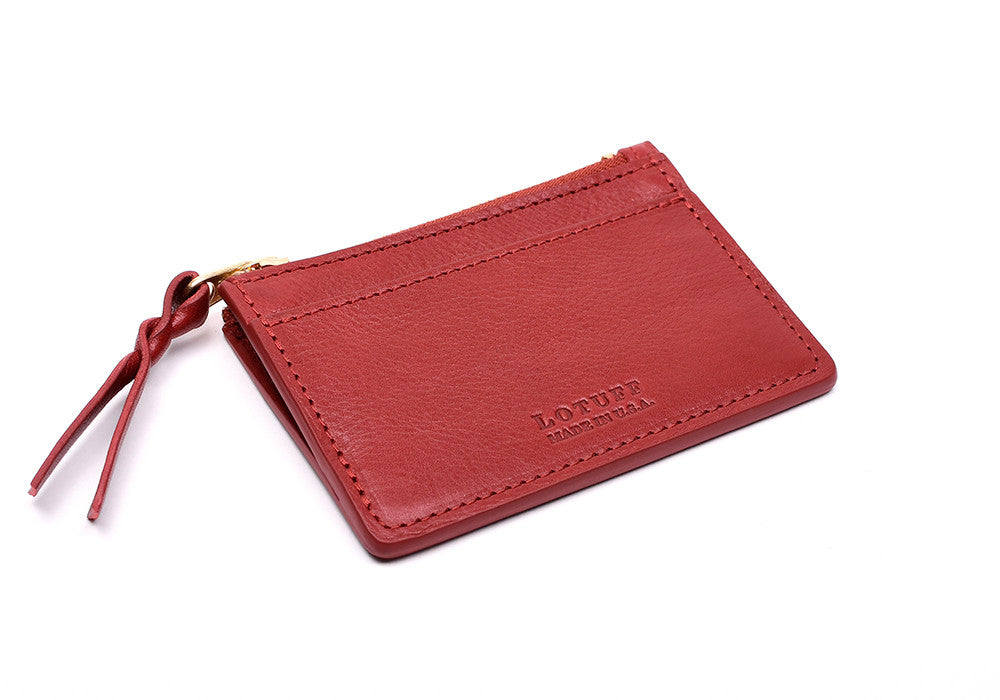 Side View of Zipper Credit Card Wallet Red