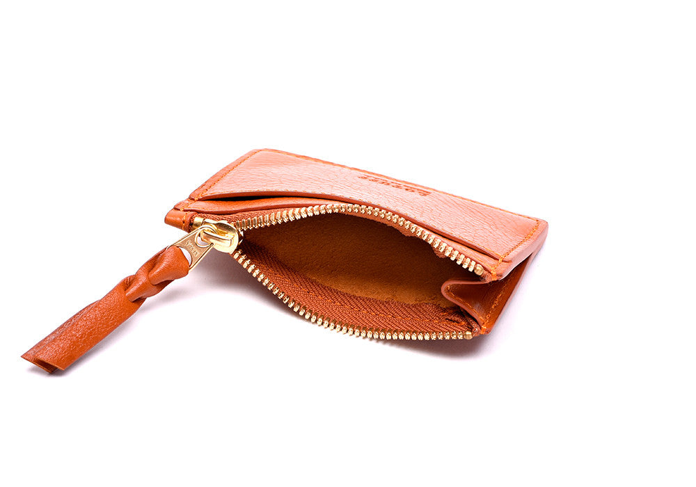 Side View Open of Zipper Credit Card Wallet Orange