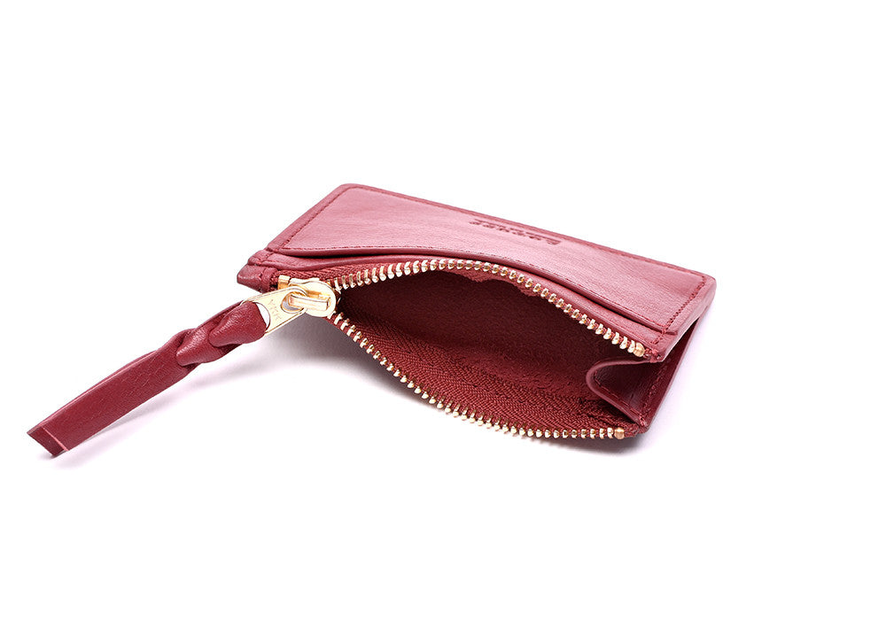 Side View Open of Zipper Credit Card Wallet Red