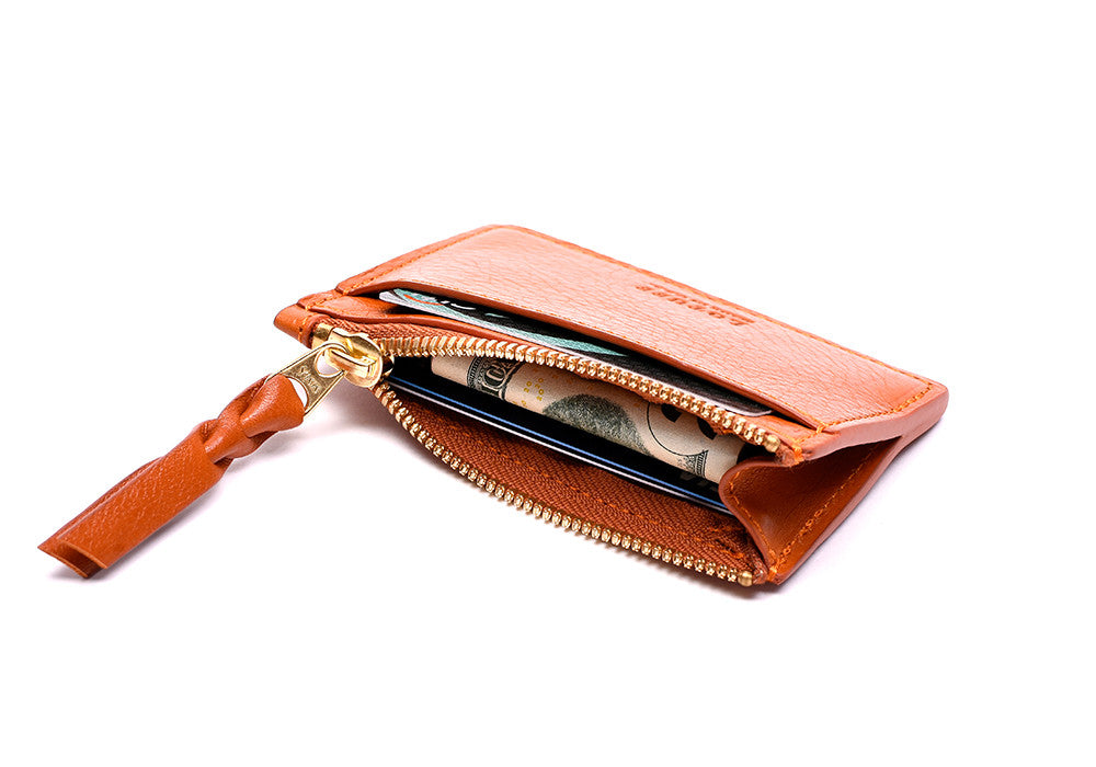 Side View Full of Zipper Credit Card Wallet Orange