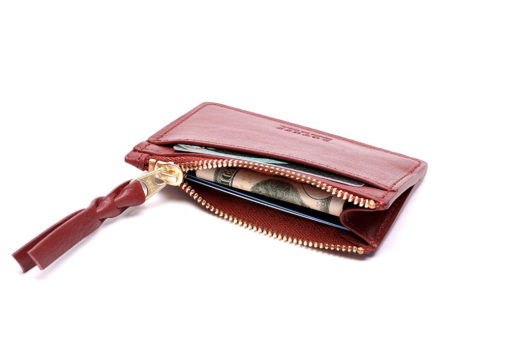 Side View Open Full of Zipper Credit Card Wallet Red