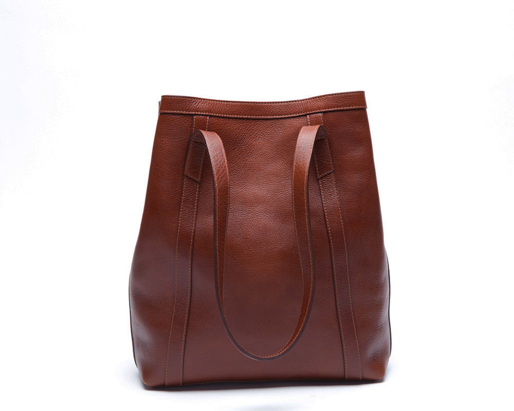 Front View of Angle Tote Chestnut