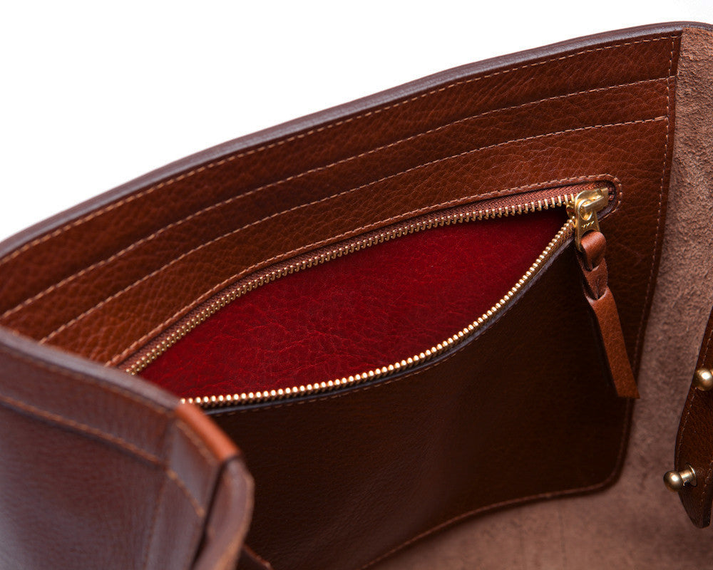Top Pocket View of Angle Tote Chestnut