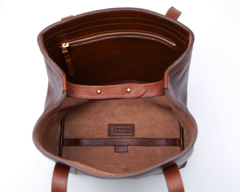 Top Open View of Angle Tote Chestnut