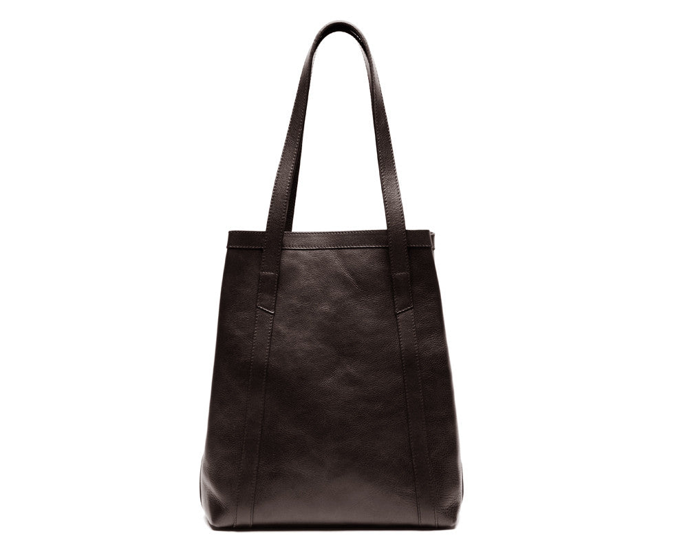 Back View of Angle Tote Chocolate