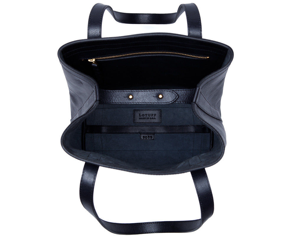 Top Open View of Angle Tote Navy