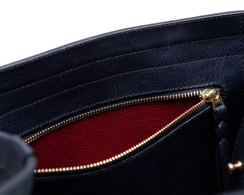 Top Pocket View of Angle Tote Navy