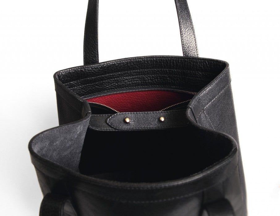 Front Open Top Angle View of Angle Tote Black