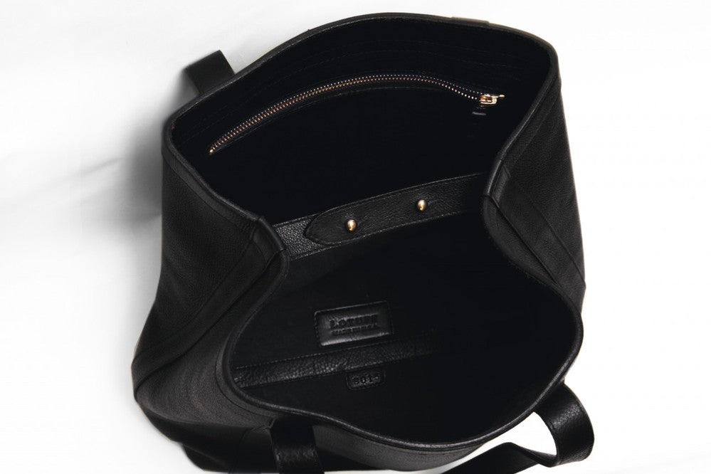 Top Open View of Angle Tote Black