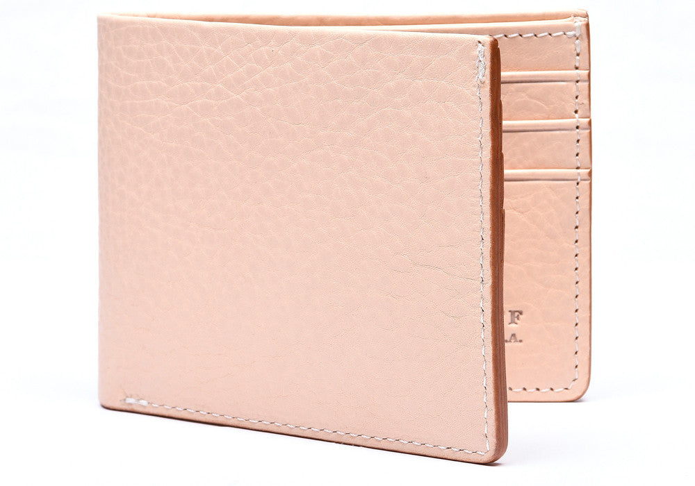Front View of Leather Bifold Wallet Natural