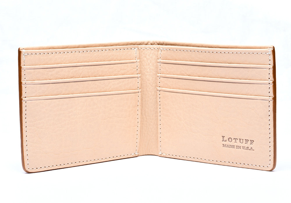 Open Front View of Leather Bifold Wallet Natural