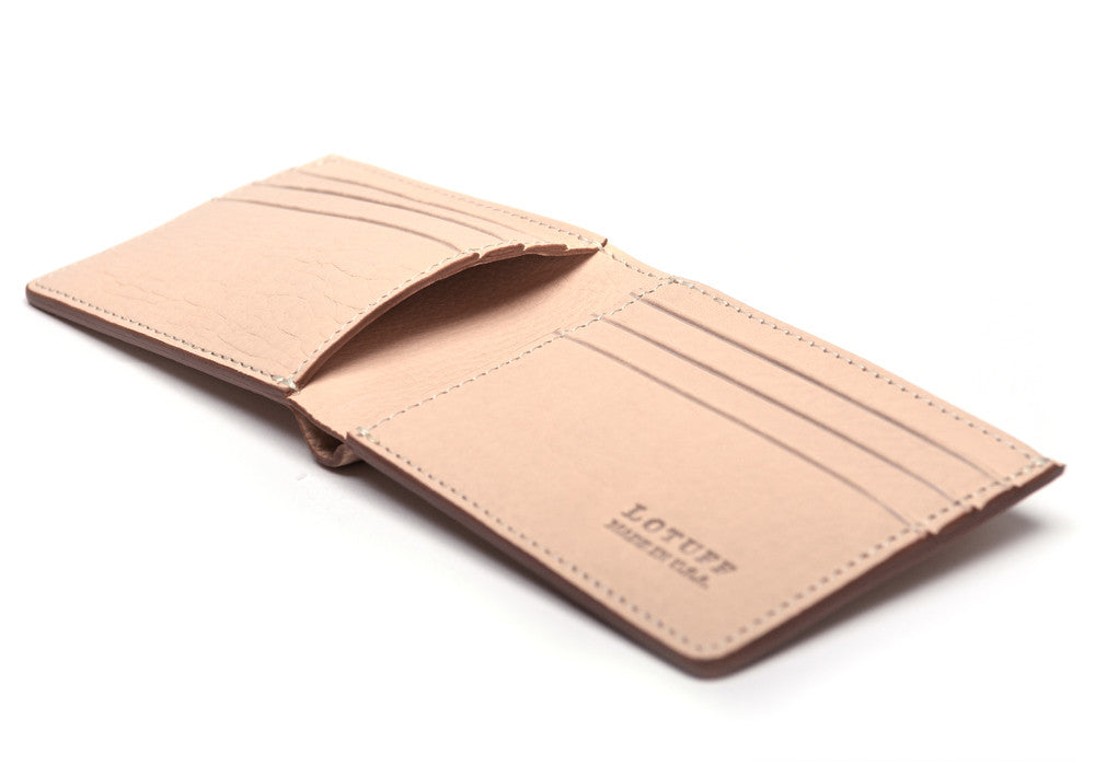 Full Side View of Leather Bifold Wallet Natural