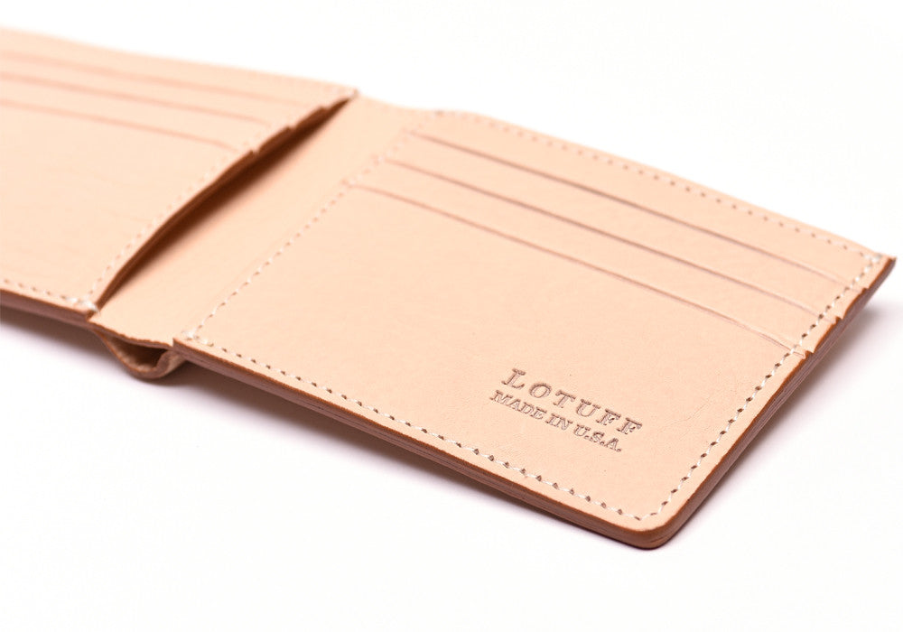 Close Side View of Leather Bifold Wallet Natural
