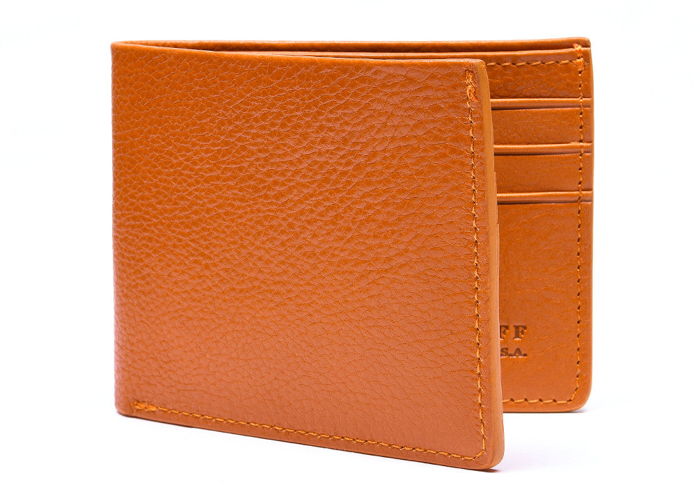 Side View of Leather Bifold Wallet Orange
