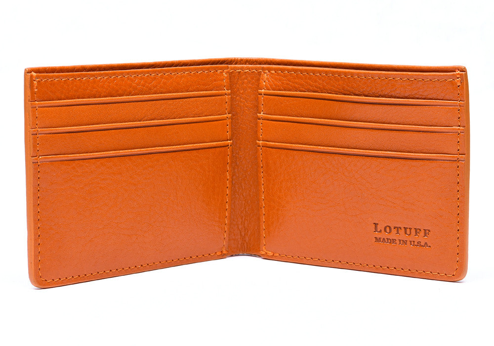Open Front View of Leather Bifold Wallet Orange
