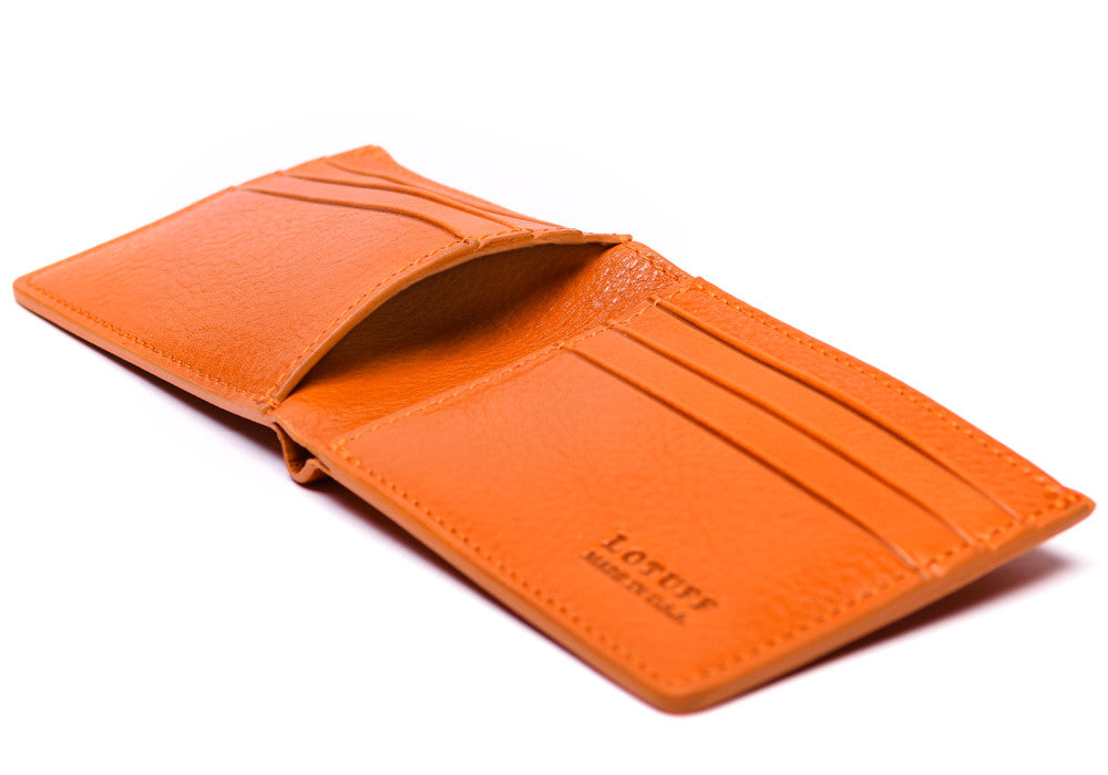 Open Side View of Leather Bifold Wallet Orange