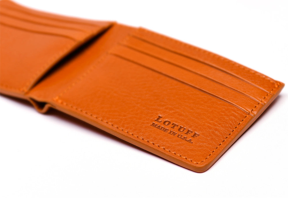 Close Side View of Leather Bifold Wallet Orange