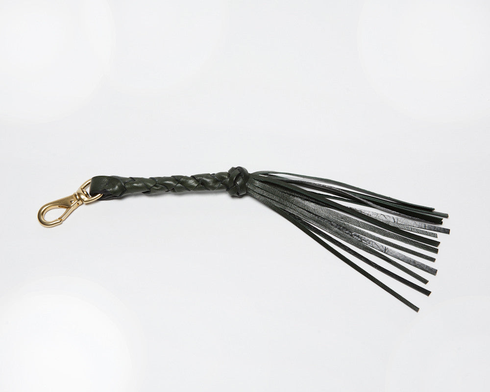 Leather Tassles of Braided Tassel Key Fob Green
