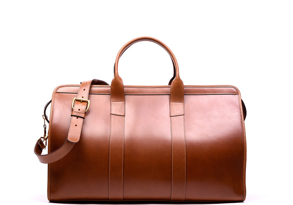 Front Leather View of Bridle Duffle Travel Bag Cognac Bridle