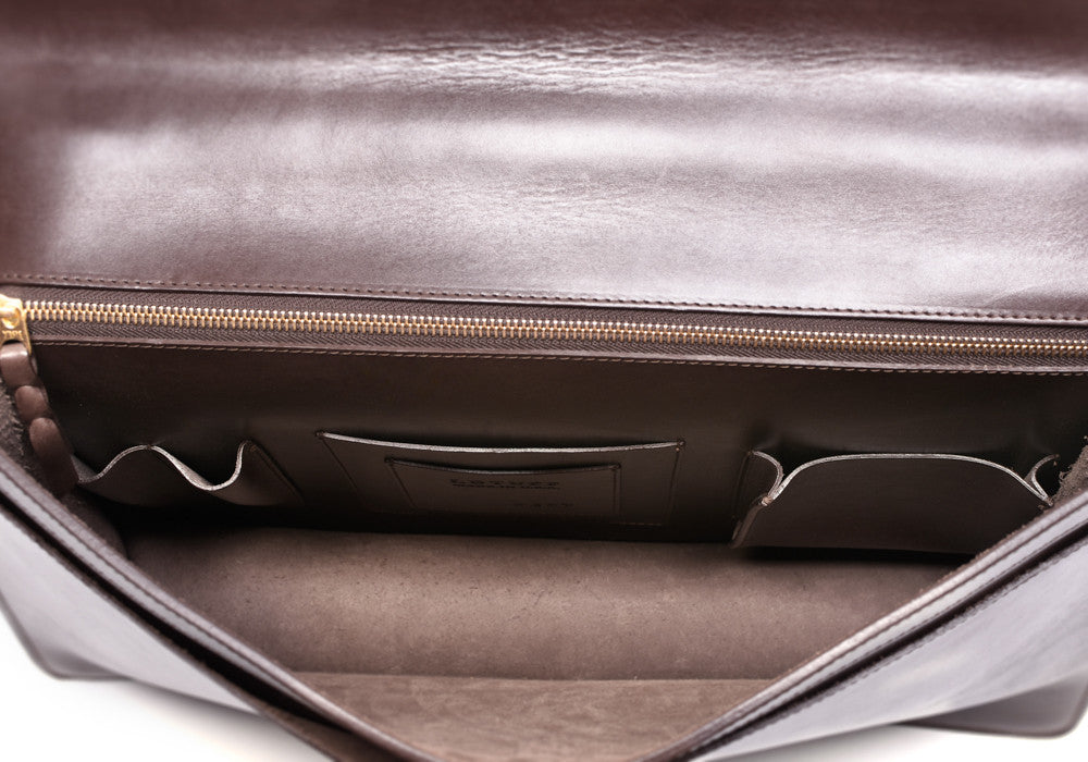 Inner Leather View of Bridle Lock Briefcase Chocolate Bridle