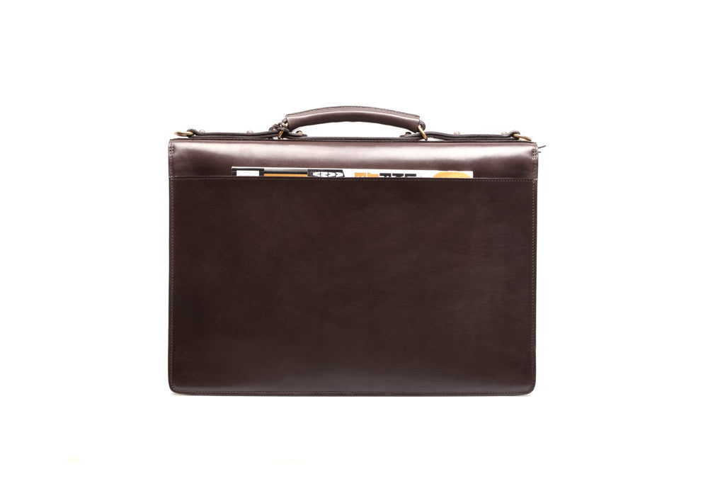 Back Leather View of Bridle Lock Briefcase Chocolate Bridle