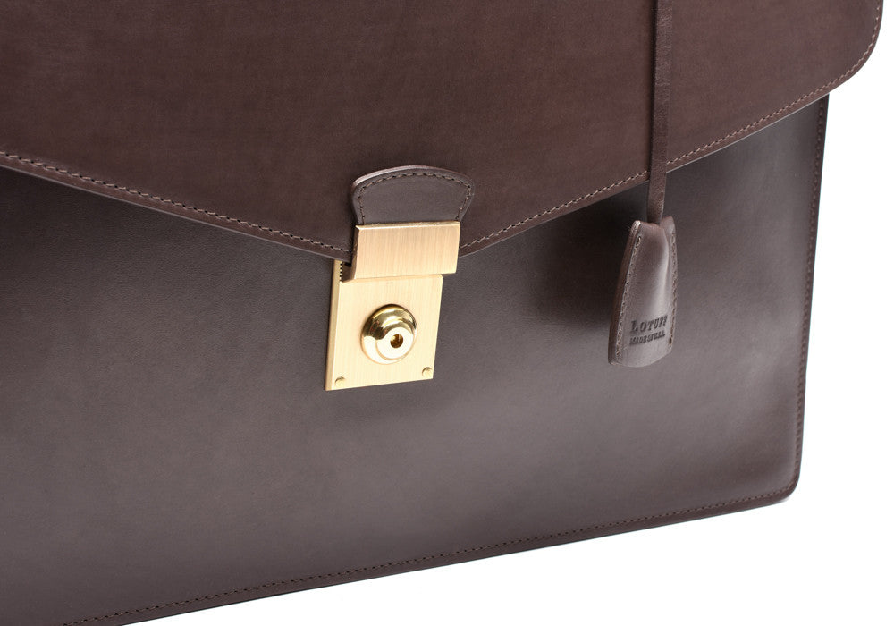 Front Lock of Bridle Lock Briefcase Chocolate Bridle