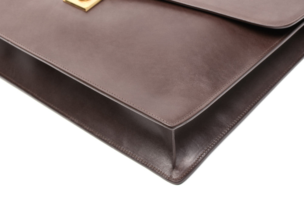 Bottom Corner View of Bridle Lock Briefcase Chocolate Bridle