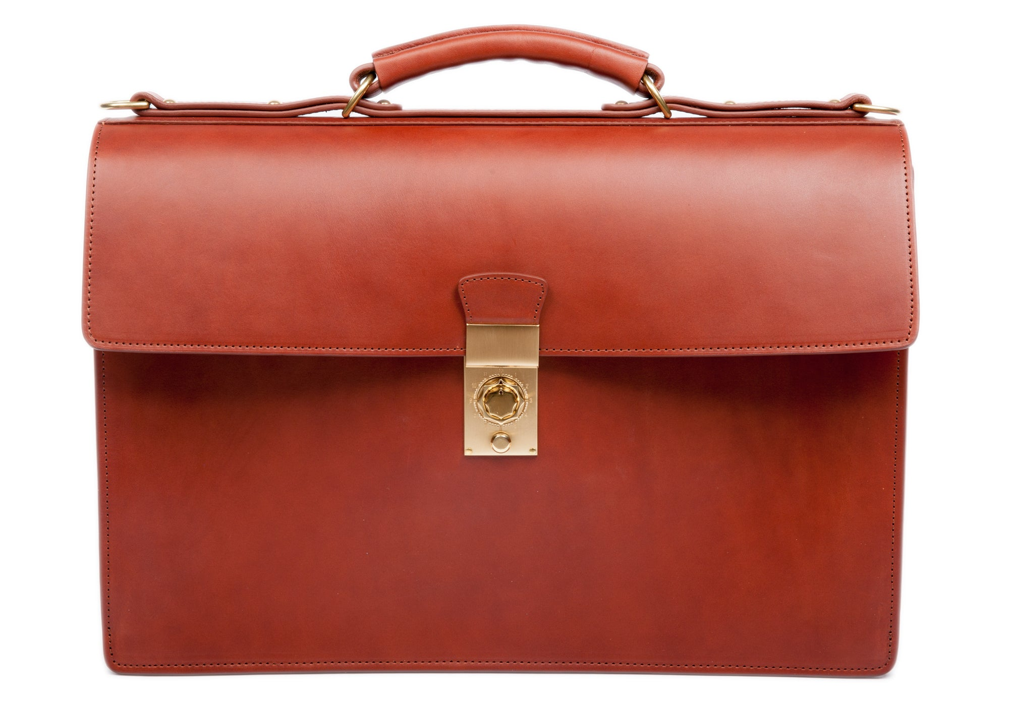 Bridle Compass Lock Briefcase Cognac Bridle