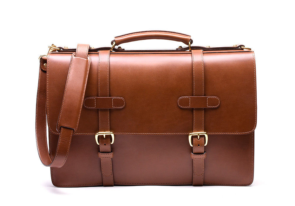 Bridle English Briefcase Cognac Bridle|Front View
