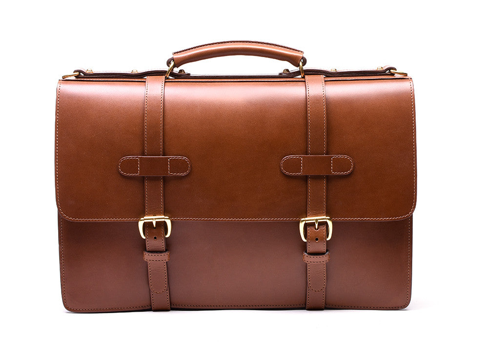 Front View of Bridle English Briefcase Cognac Bridle