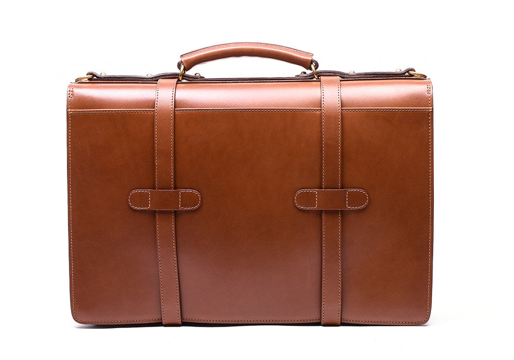 Back View of Bridle English Briefcase Cognac Bridle