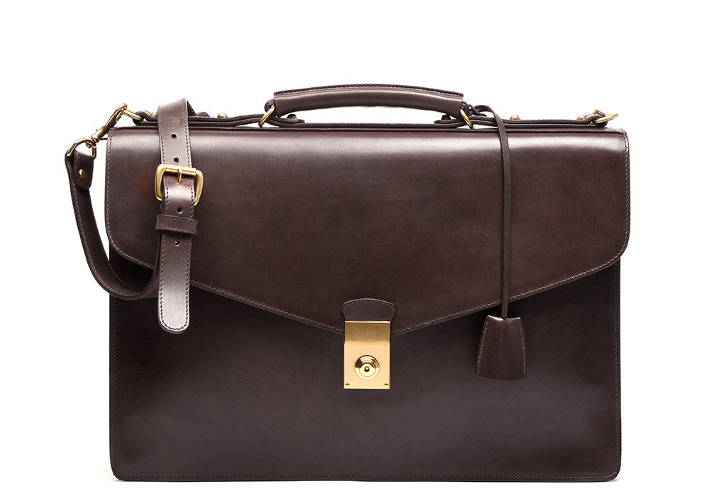 Front Leather View of Bridle Lock Briefcase Chocolate Bridle