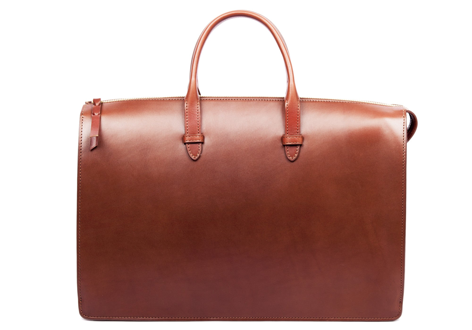 The Bridle Triumph II Briefcase Cognac Bridle|Front Leather View