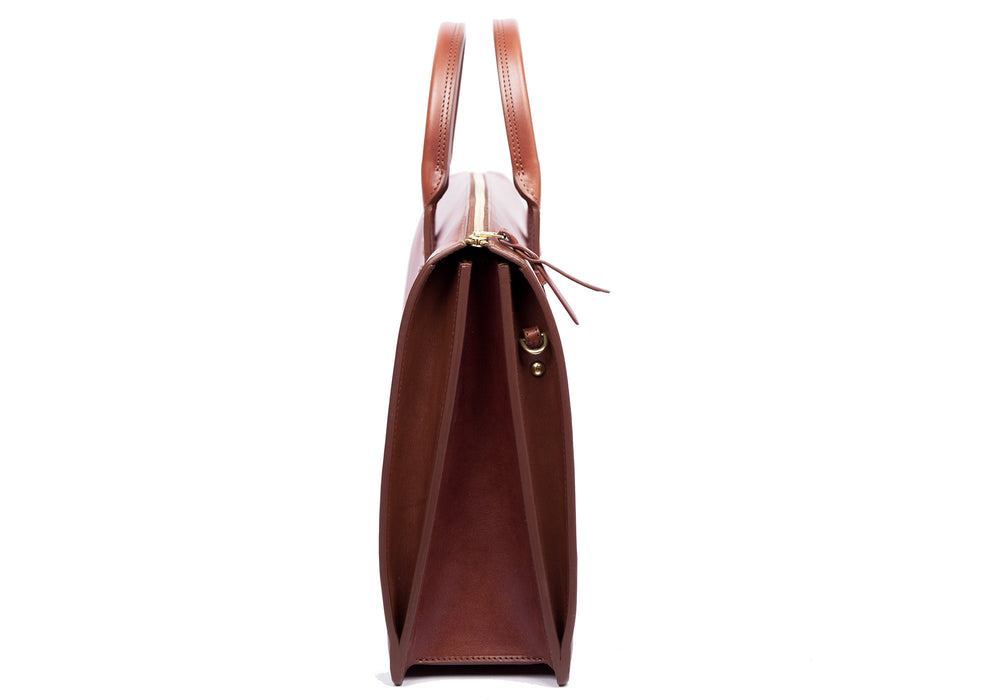 Side Leather View of The Bridle Triumph II Briefcase Cognac
