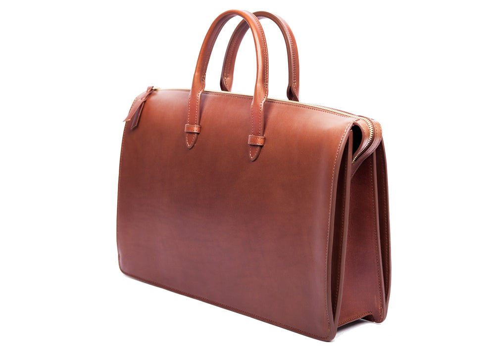 Side Leather View of The Bridle Triumph II Briefcase Cognac Bridle