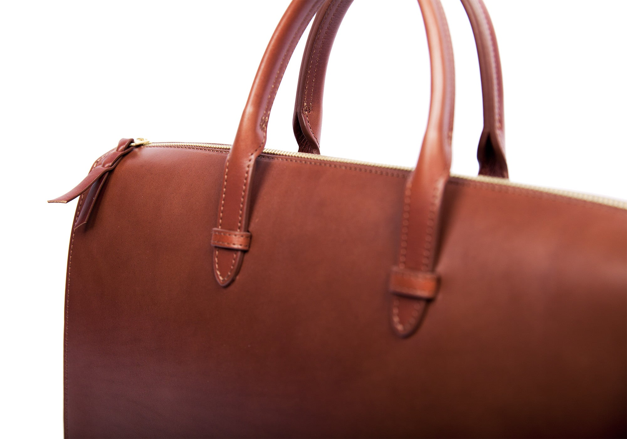 Front Leather View of The Bridle Triumph II Briefcase Cognac Bridle