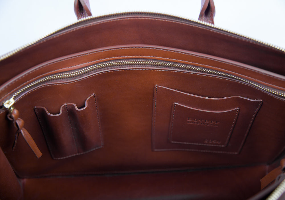 Inner Leather Pocket of The Bridle Triumph II Briefcase Cognac Bridle
