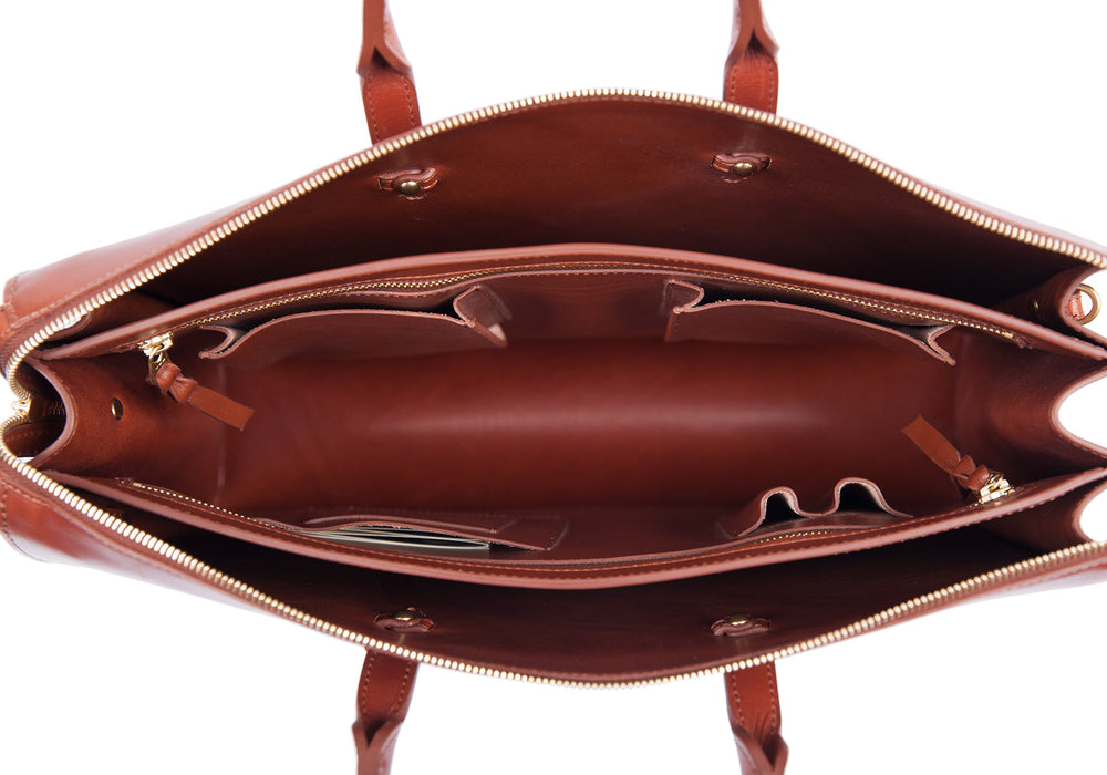 Inner Leather View of The Bridle Triumph II Briefcase Cognac Bridle