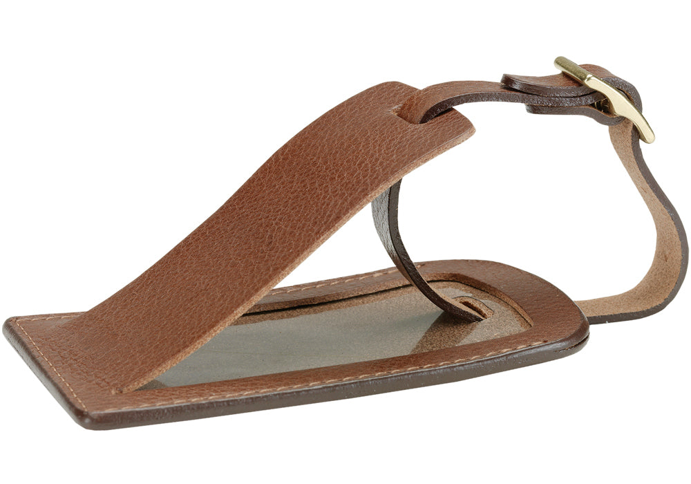 Side View of Business Luggage ID Tag Chestnut