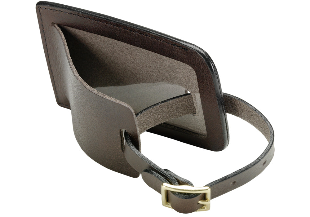 Inner Leather View of Business Luggage ID Tag Chocolate