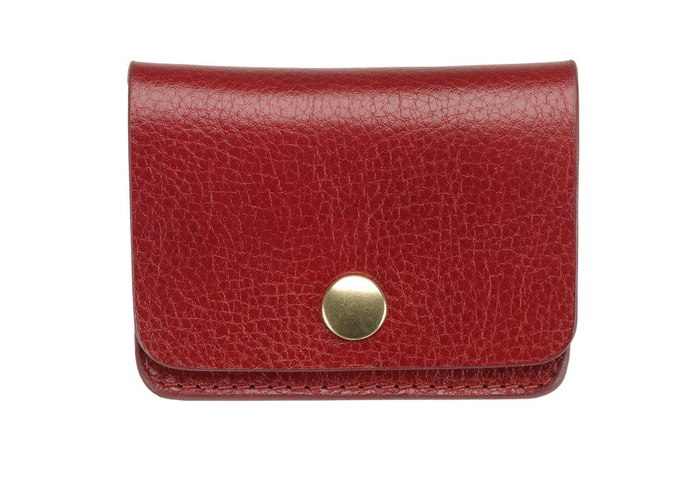 Front View of Leather Coin Wallet Red