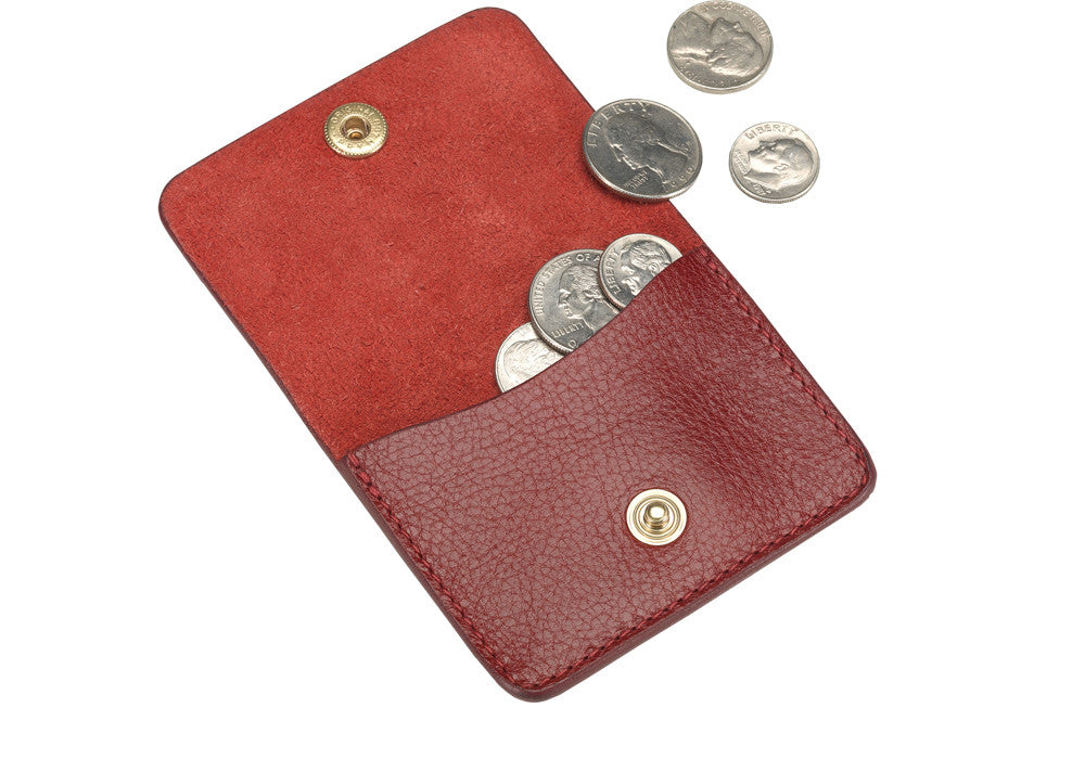 Open View of Leather Coin Wallet Red