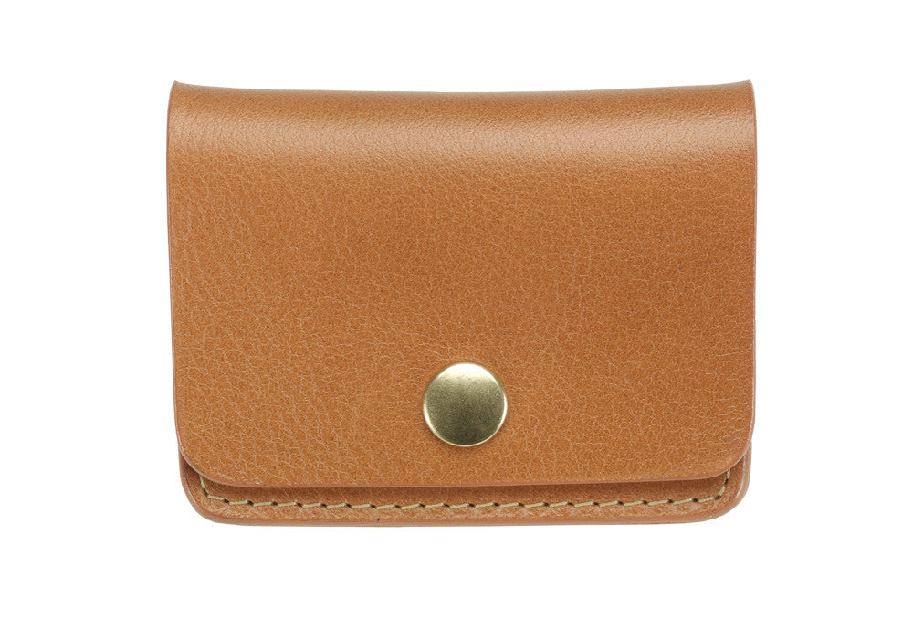 Front View of Leather Coin Wallet Tan
