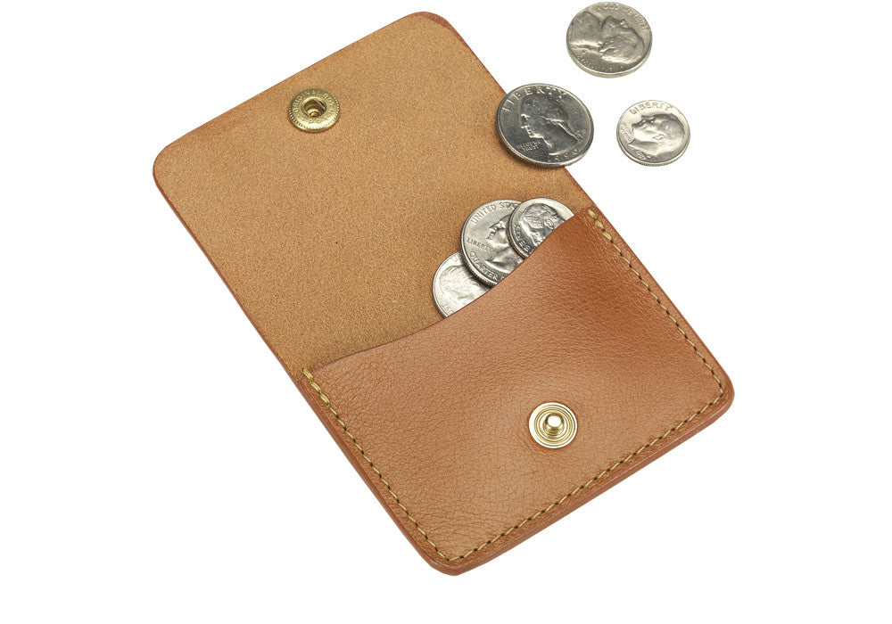 Open View of Leather Coin Wallet Tan