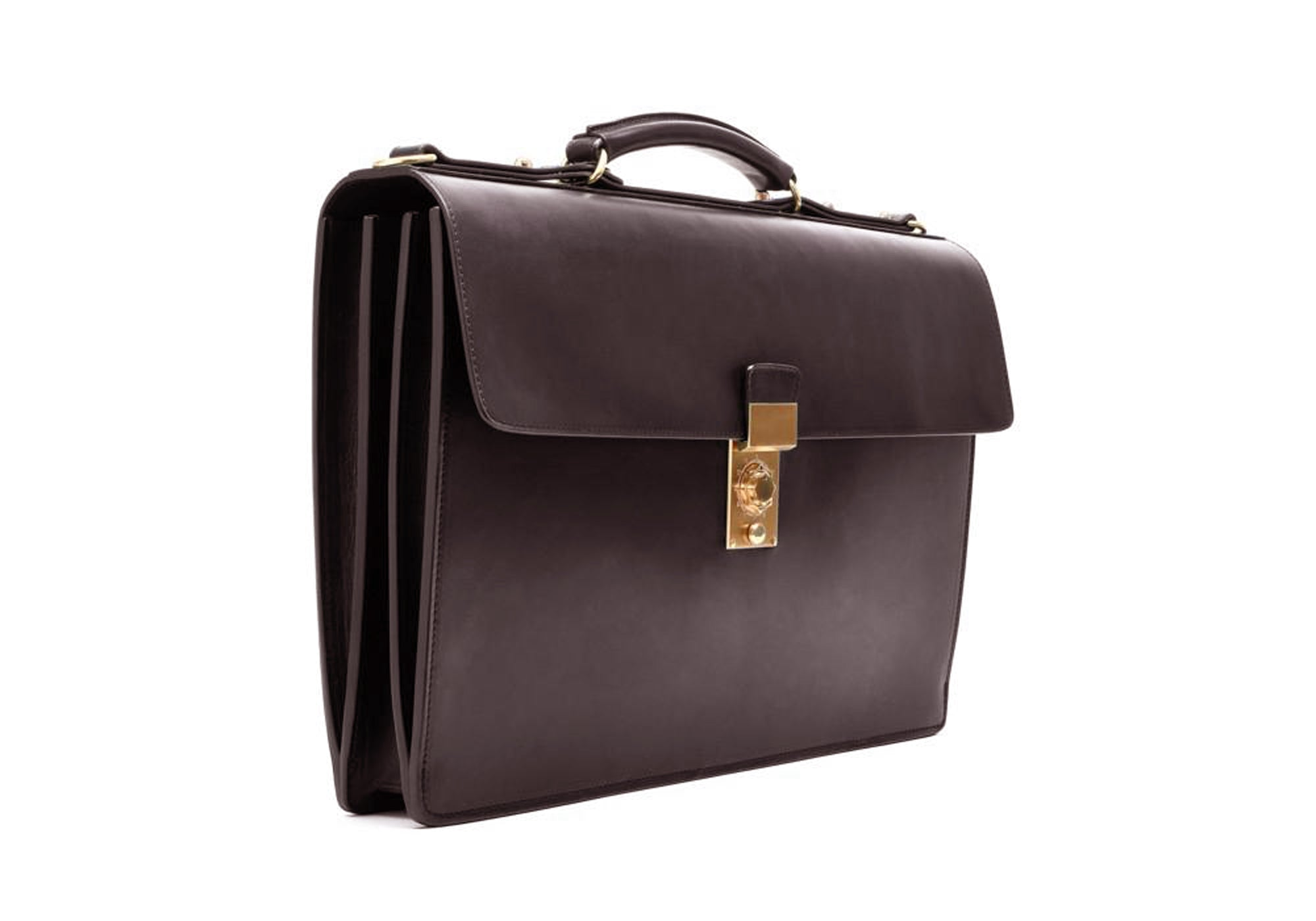 Front Side View of Bridle Compass Lock Briefcase Chocolate Bridle