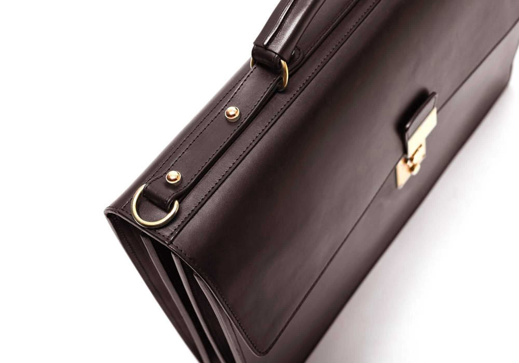 Bridle Compass Lock Briefcase Chocolate Bridle