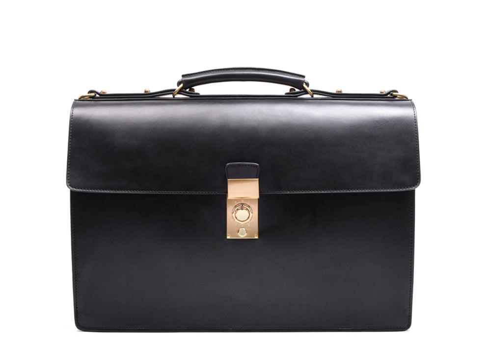 Front View of Bridle Compass Lock Briefcase Black Bridle